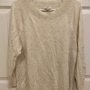 LOFT Size XL Sweater in Cream with Dots